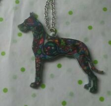 Doberman Pinscher Dog Colorful Pendant Silver Necklace Adult / Kid New With Tag