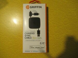 3 Pack Griffin 2 in 1 Charger Sync Cable Model GC39137-2