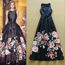 Designer Runway Maxi Dress Womens Sleeveless Floral Printed Celebrity long dress