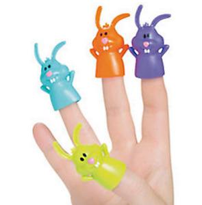Pack of 12 - Easter Funny Bunny Finger Puppets Egg Hunt Party Loot Bag Fillers