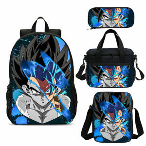 Dragon Ball Z Backpack Schoolbag Kids Insulated LunchBox Pen Bag Travel Bag 4PCs