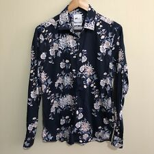 YD Floral Flowers Slim Fit Button Front Shirt Mens Small