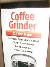 Continental Electric Coffee Grinder 120 Watt Motor Stainless Steel Blade & Bowl