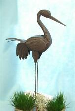 "Rustic Metal Garden Crane Bird Sculpture Outdoor Statue Lawn Yard Ornament 38""H"