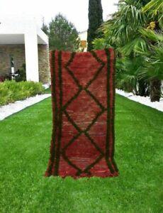 Shaggy Rug Berber Runner Handmade Carpet Vintage Hallway Red Color 5'x2.5' ft