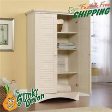 Tall Antiqued White Storage Cabinet Pantry Cupboard Organizer