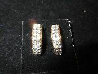 Statement Hoop Earrings Rhinestone Crystal Gold Tone Vintage Antique Shiny CHIC