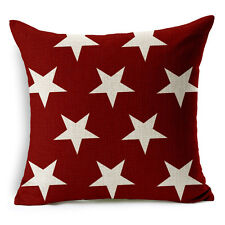 "18""x45cm Red Little Star Vintage Home Decor Linen Cushion cover Pillowcase"