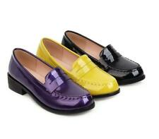 Women Round Toe Shiny Pu Leather Comfort Low Heel Loafers Lady Driving Shoes