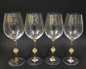 NEW CELLINI 4 PC SET+GOLD RIM,CRYSTALS HANDMADE RED WINE GLASS,GOBLET,GLASSES