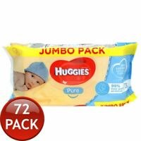 72 x HUGGIES PURE BABY WIPES NAPPIES ALCOHOL PERFUME FREE SOFT SKIN CLEANING