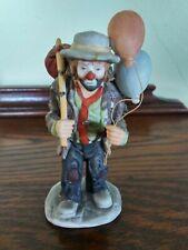 Vintage Flambro Emmett Kelly Jr Porcelain Hobo Clown with Balloons and Sack