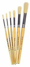 Major Brushes Short Handle Round Hog bristle Brushes - Pack of 6 artist painting