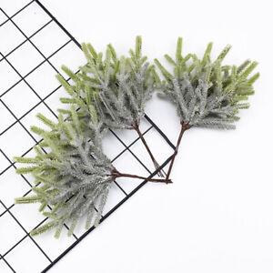 6Pcs Artificial Plant Christmas Tree Snow Branch DIY Fake Flower Home Decoration
