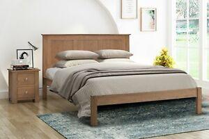 Solid Wood Bed Frame Oak Smoked Oak Double King Scandinavian Shaker Edeline