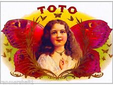 Toto Vintage Cigar Tobacco Box Crate Inner Label Art 7x10 inch Print