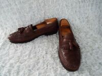Giorgio Brutini Bartell Brown Leather Tassel Weave Loafers Men's Size 11.5 D