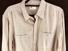 Adriano Goldschmied AG Mens Large Long Sleeve Button Front Dress Shirt Tan Brown