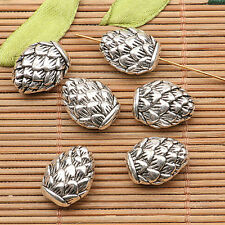 6pcs tibetan silver tone 2sided lotus flower Spacer beads h0713