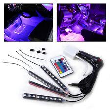 4pcs Car Interior Floor 9 LED Remote Control Colorful Decorative Lights