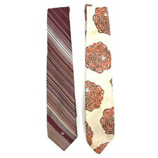 Lot of 2 Vintage Givenchy Gentlemen Paris Ties Neckties Stripe Floral Polyester