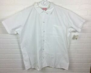 Industrial Apparel Warehouse 2XL Unisex Snap Button Up Food Service Shirt White