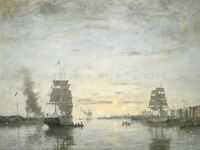 BOUDIN FRENCH ENTRANCE HARBOR LE HAVRE OLD ART PAINTING POSTER BB5293A