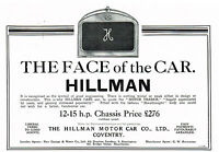 1911 Original Antique Vintage Hillman Motor Auto Automobile Car Art Print Ad