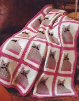 Crochet Pattern Cute Kitty Cat Afghan Throw Blanket