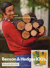 1974 Vintage ad for Benson & Hedges/Cigarettes/ Man carrying firewood. (110113)