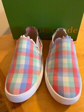 672c75b80f17 Kate Spade Lilly Slip on Ruffle SNEAKERS Multi Pastel Plaid Women s Sz 7 Bs4