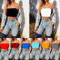 Color Bandeau T-shirts Off Shoulder Women Strapless Bra Tube Crop Top Yoga Vest