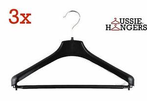 3x Suit Hangers Heavy Duty 460mm Commercial Jacket Pants Clothing Coat R50L