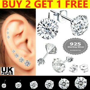 Genuine 925 Sterling Silver Cubic Zirconia Stud Earrings Small Round CZ Set Pack