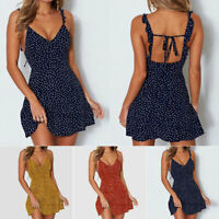 Women's Boho Floral V Neck Party Evening Beach Short Mini Dress Summer Sundress