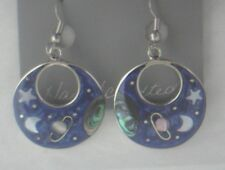 Earrings Crescent Moon Saturn Star Earth/Planet Abalone Shell Alpaca astral hoop