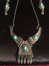 With Turquoise Stones. Free Shipping Jerusalem Pendant Necklace And Earrings