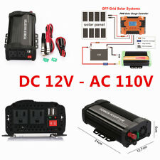US Portable Car LED Power Inverter WATT DC 12V to AC 110V Charger Converter 2USB
