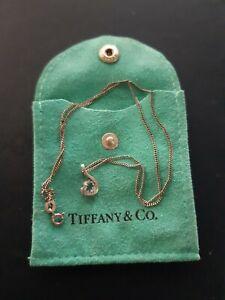 TIFFANY & CO. SILVER CHAIN .AQUA MARINE STONE.TEARDROP PENDANT,16 INCHES