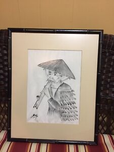 Signed Beky, Man Smoking Pipe, Vietnamese Ink Drawing on Silk