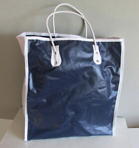 "Navy & White Vinyl Tote Travel Bag 13x14"" Tall Expandable Lightweight FREE SH"