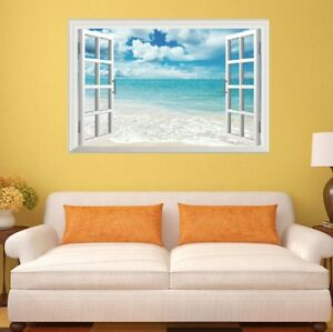 3D Fake Window View Blue Sky White Beach Wall Stickers Home Office Decor Mural