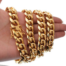 Stainless steel Gold Plated Finish Heavy 15mm Miami Cuban Link Chain Necklace