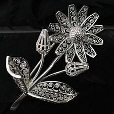 Flower Brooch 2 1/8� X 1 3/8� Lovely German Estate Sterling Silver Scroll Design