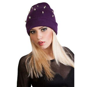 Ladies Slouch Beanie Hat with Skullls Warm Hat For Women Girls One size