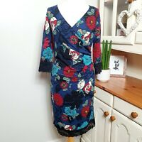 GINA BACCONI (UK Size 16) RRP £180 Navy Jersey Bold Flower Wrap Midi Dress