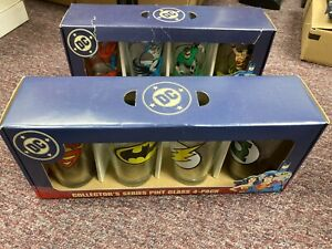 Lot of DC Comics Collectors Series Pint Glass 4-pack Cups Superman Batman