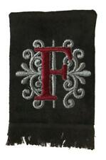 New Black Monogrammed Hand Towel with Burgundy and Gray Embroidery Design