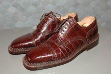 Santoni Hand Made Men's Burgundy Crocodile Lace-Up Shoes, Size US 11, Mint