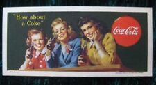 1944 Coca Cola Card Blotter Advertising Very Sharp Colors Vintage
